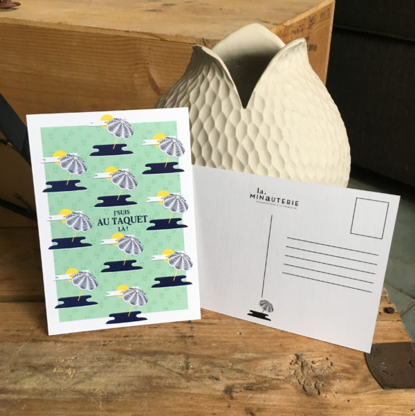 """Carte Postale + enveloppe """"J'suis au taquet là ! """""""