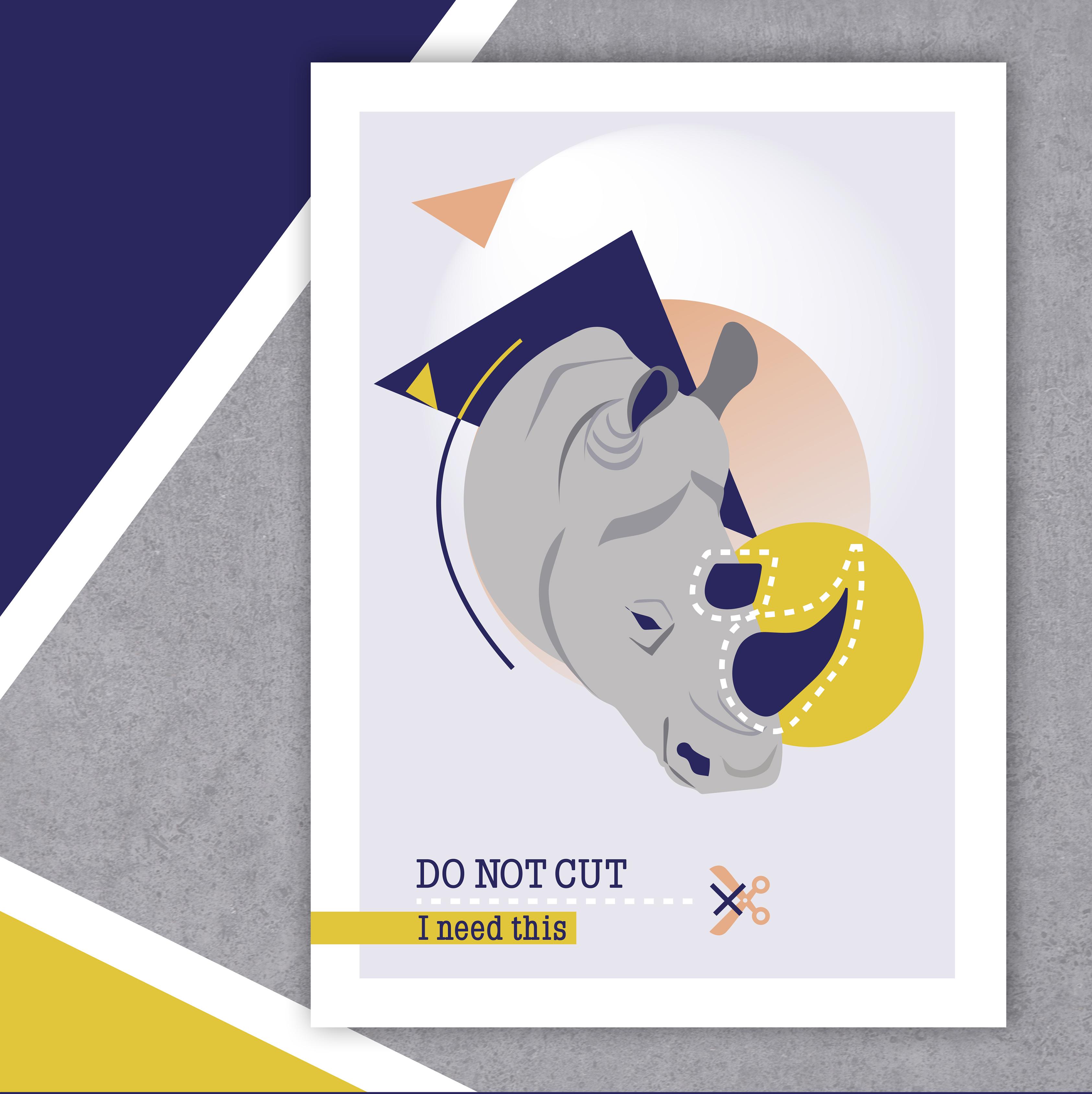 Do Not Cut – Affiche A4 Rhinocéros